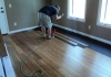 Bamboo Hardwood Floor Being Installed in New Home Office